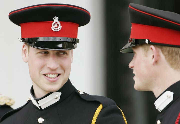 Prince William and Prince Harry at the Sovereign's Parade at Sandhurst Military Academy on April 12, 2006, in Surrey, England.