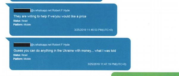 Hyde apparently had contacts in Kyiv who were willing to track Yovanovitch for money.