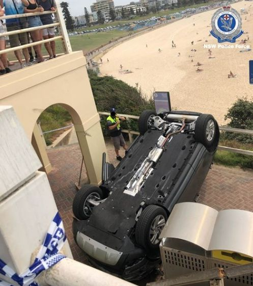 An SUV went through the rail guard at Sydney's iconic Bondi