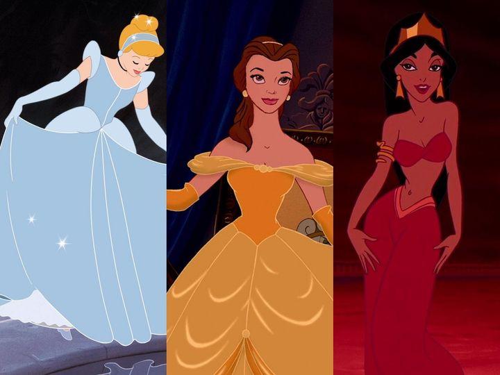 Cenicienta, la Bella y Yasmín, personajes femeninos de Disney.