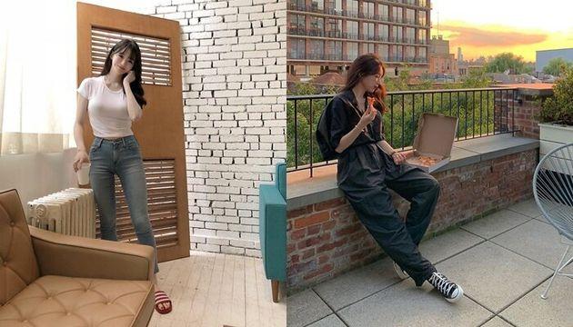 왼쪽부터 강민경 지난해(2018년), 올해(2019년) 게시물. 달라진 옷 스타일을 확인할 수