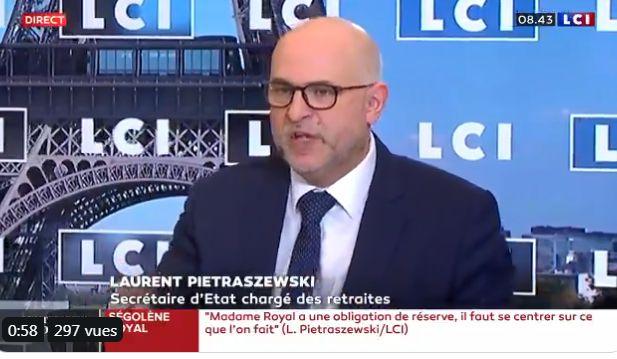 Laurent Pietraszewski, le secrétaire d'Etat en charge des Retraites sur LCI, le 15 janvier