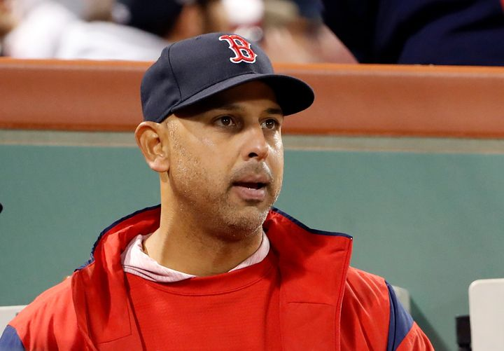 Boston Red Sox manager Alex Cora in the dugout during the fifth inning of a baseball game against the Toronto Blue Jays, Thur