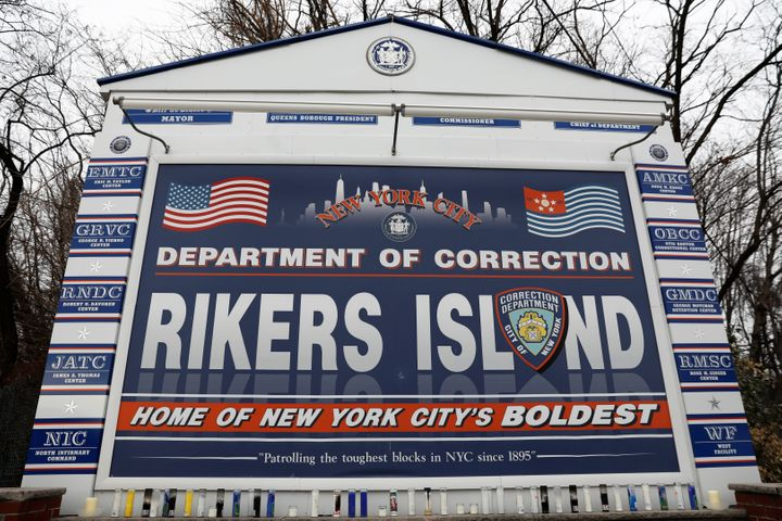 The entrance to the New York City Department of Corrections Rikers Island facility in Queens, in New York, is seen.