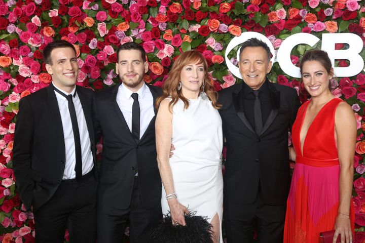 Sam Springsteen, left, pictured with his Sirius XM host brother, Evan, his mother, Patti Scialfa, his father, Bruce, and his
