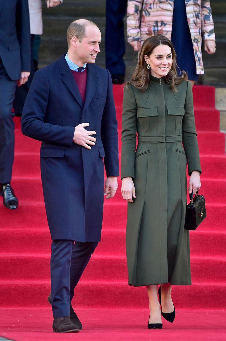 Prince William and Kate Middleton leave after their visit to City Hall in Bradford's Centenary Square on Jan. 15 in Bradford,