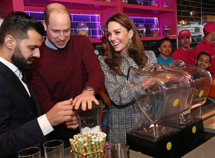 The Duke of Cambridge and Duchess of Cambridge help make Kulfi milkshakes at MyLahore on Jan. 15 in Bradford, United Kingdom.