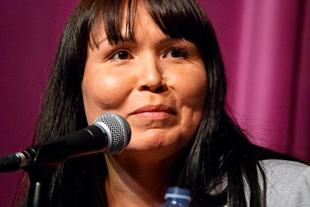 Crystal Smith, elected chief counsellor of the Haisla First Nation, speaks at a LNG forum in Kitimat,...