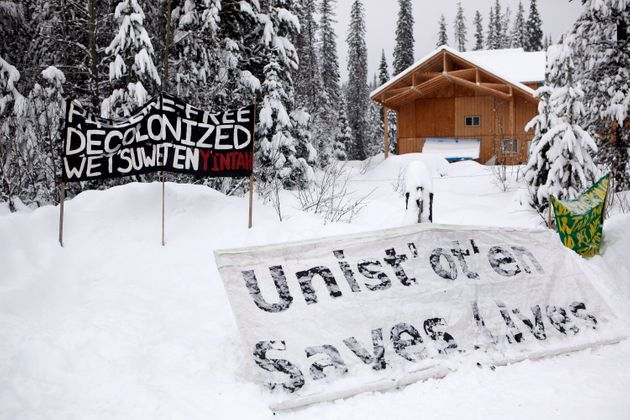 Signage at the Unist'ot'en camp near Houston, B.C. where Wet'suwet'en Hereditary Chiefs and supporters...