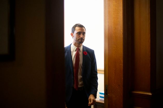 Ontario Minister of Education Stephen Lecce makes his way towards reporters at the Ontario legislature...