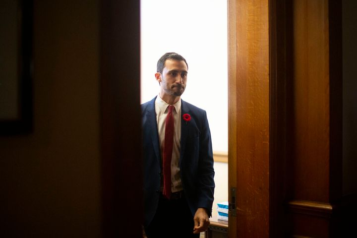 Ontario Minister of Education Stephen Lecce makes his way towards reporters at the Ontario legislature in Toronto on Oct. 28, 2019.