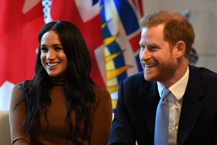 Prince Harry and Meghan Markle earlier this month during their visit to Canada House in London.