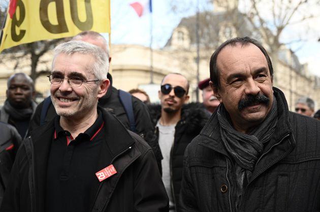 Yves Veyrier, secrétaire général de FO et Philippe Martinez, secrétaire général de la