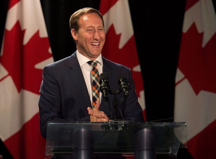 Peter MacKay sports a smile after announcing his resignation in Stellarton, N.S., on May 29, 2015.