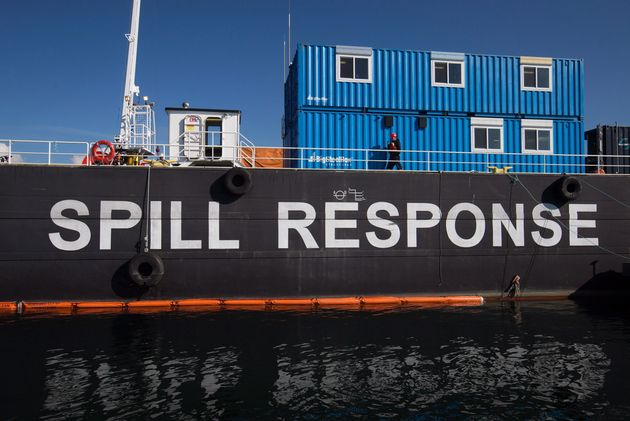 A spill response tank barge during an exercise on English Bay in Vancouver, B.C. on Sept. 22,