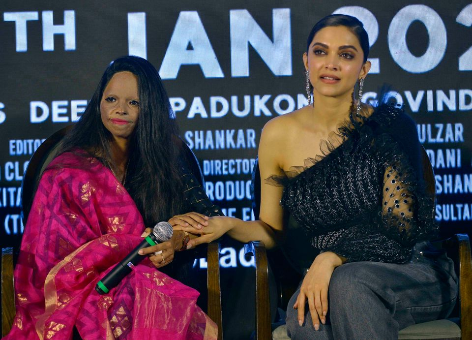 Laxmi Agarwal and Deepika Padukone during the title track launch of upcoming movie Chhapaak in