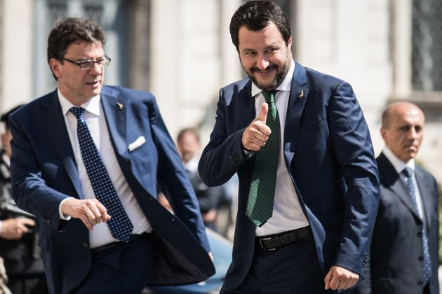 Italys Interior Minister and deputy Prime Minister Matteo Salvini, (L) and Italys Undersecretary for...