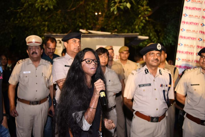 Acid attack survivor Laxmi Agarwal participates in the The Fearless Run, a midnight run of 5 kilometers which was organised by the Delhi Police.