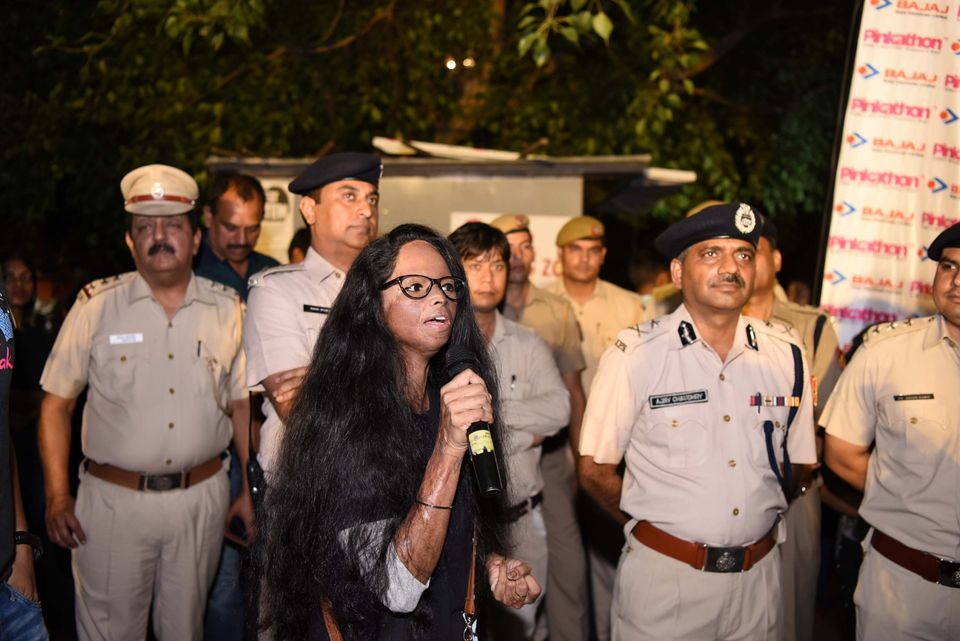 Acid attack survivor Laxmi Agarwal participates in the The Fearless Run, a midnight run of 5 kilometers...