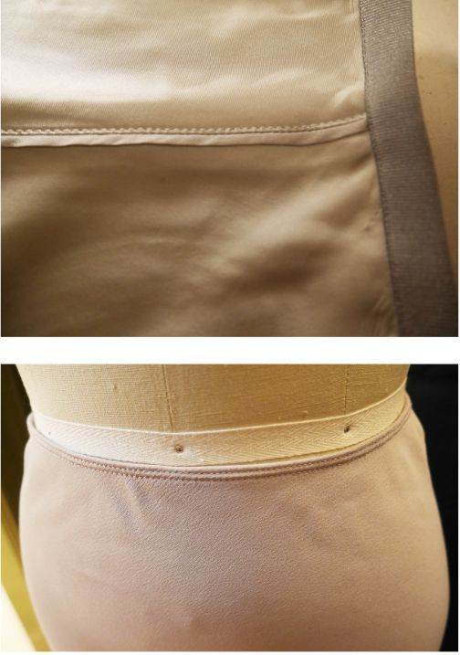 Top to bottom: Close-ups of the Helmut Lang and Topshop waistbands.