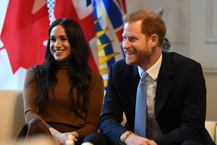 Harry and Meghan during a visit to Canada House on Jan. 7, the day before their big announcement.