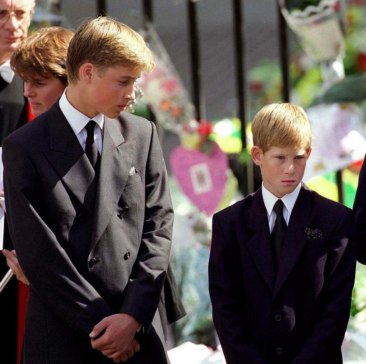 Prince William and Prince Harry at their mother's funeral on Sept. 6, 1997, in London.
