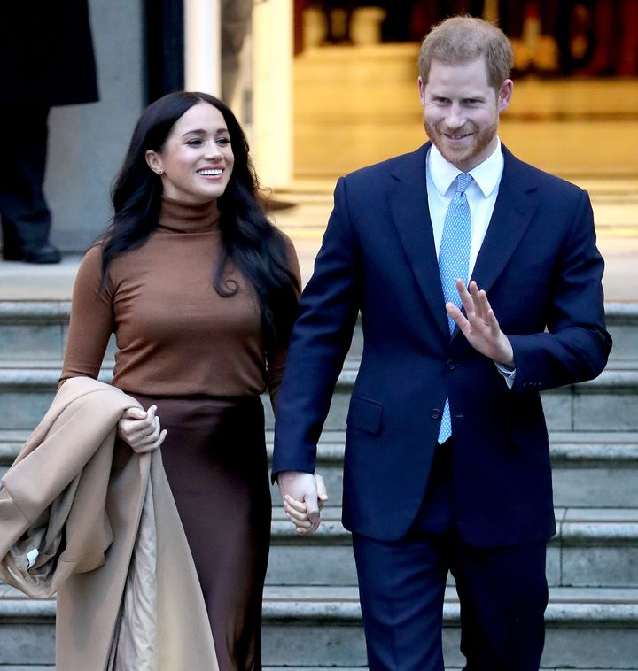 The Duke and Duchess of Sussex depart Canada House on Jan. 7, 2020 in London.