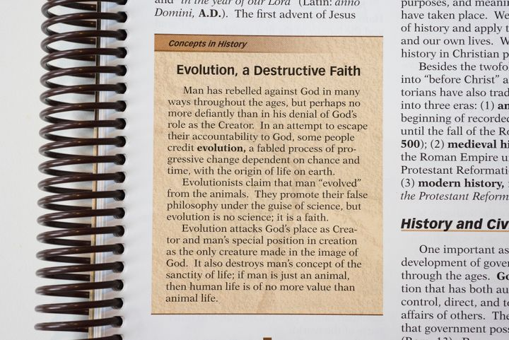 "A world history textbook published by Abeka disparages evolution ""fable."""