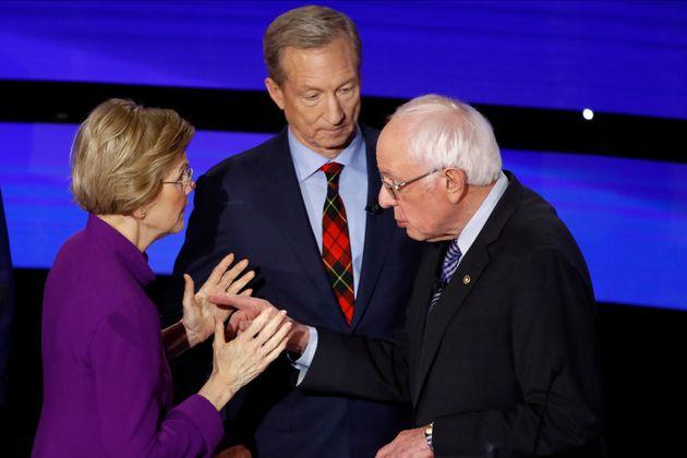 Democratic presidential candidate Sen. Elizabeth Warren, D-Mass., left and Sen. Bernie Sanders, I-Vt.,...