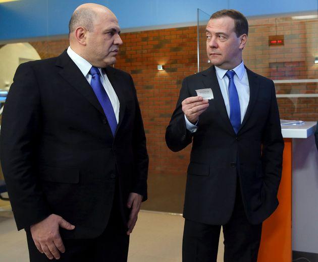 O επόμενος και ο πρώην πρωθυπουργός της Ρωσίας, Μισουστιν και Μεντβιέντεβ.