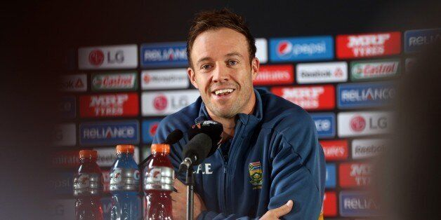 South Africa's captain AB de Villiers speaks to the media ahead of their 2015 Cricket World Cup semi...