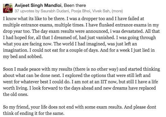 When An IIT Aspirant Who Did Not Make The Cut-Off Asked If Suicide Is An Option, Strangers On Quora Had...
