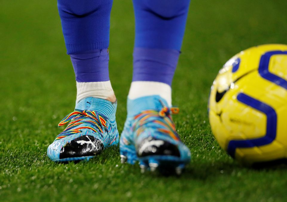 Rainbow laces worn by Leicester City's James Maddison in support of the Stonewall Rainbow Laces campaign...