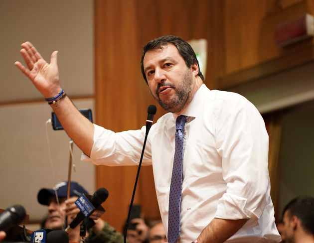 Lega political party leader Matteo Salvini takes part at a political meeting on December 12, 2019 in...