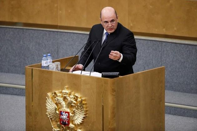 El nuevo ministro de Rusia, Mijaíl Mishustin, en su comparecencia ante la sesión plenaria...