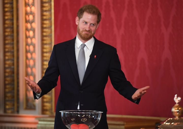 Harry makes a face during the event at Buckingham Palace. The Rugby League World Cup 2021 will take place from October 23 thr