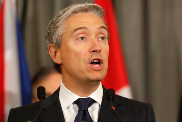 Foreign Affairs Minister Francois-Philippe Champagne speaks in London on Jan. 16,