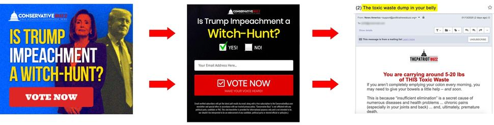 Pro-Trump news sites are running Google ads with partisan, clickbait polls to draw people in. In order to vote in the polls,