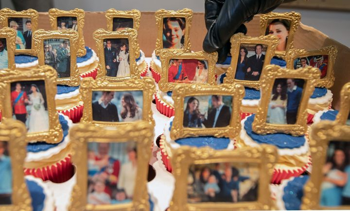 Cakes, decorated with images of Prince William and Kate Middleton, are pictured during their visit to the Khidmat Centre in B