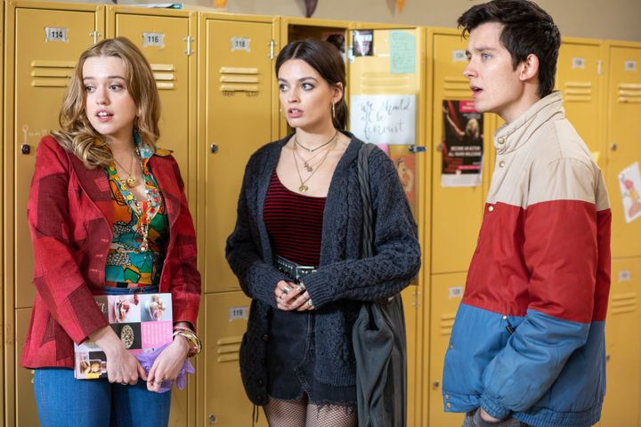 """Aimee Lou Wood, Emma Mackey and Asa Butterfield in """"Sex Education"""""""
