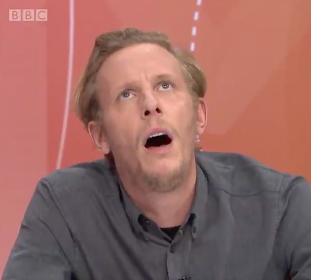 Laurence Fox rolling his eyes during his infamous Question Time
