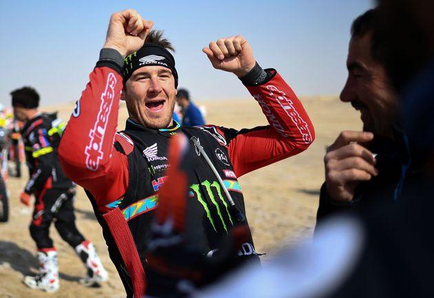 Le motard américain Ricky Brabec, ici sur le Dakar en Arabie Saoudite le 15 janvier