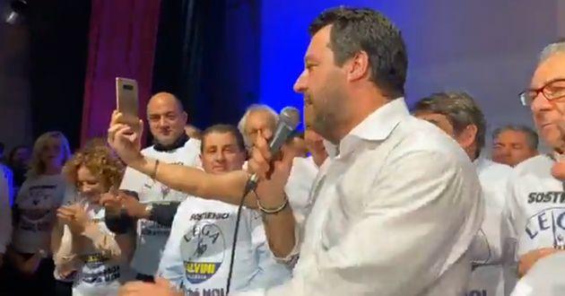 Il comizio di Salvini, con Francesco Battaglia sullo