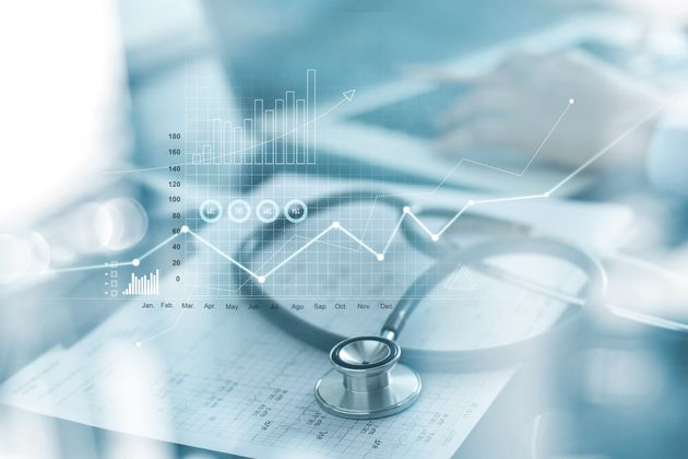 Healthcare business graph and Medical examination and businessman analyzing data and growth chart on...