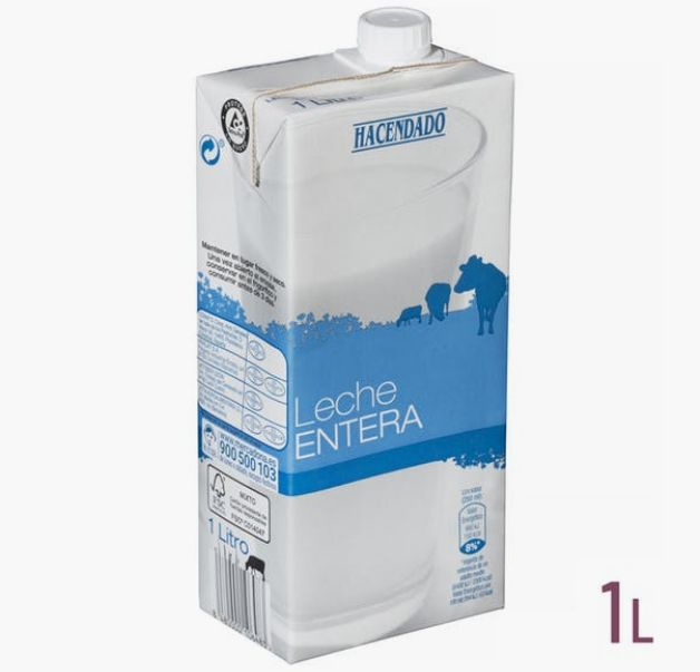 Un litro de leche entera de Hacendado, marca blanca de Mercadona.