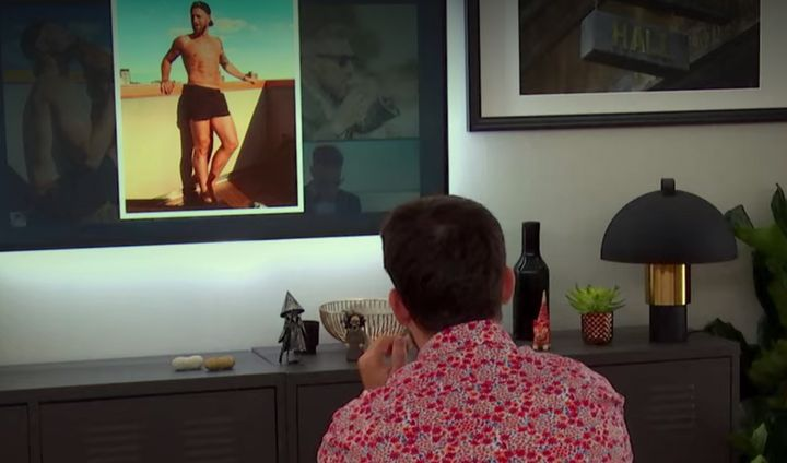 Alex wondering if he should use a picture of Eddie in short shorts.