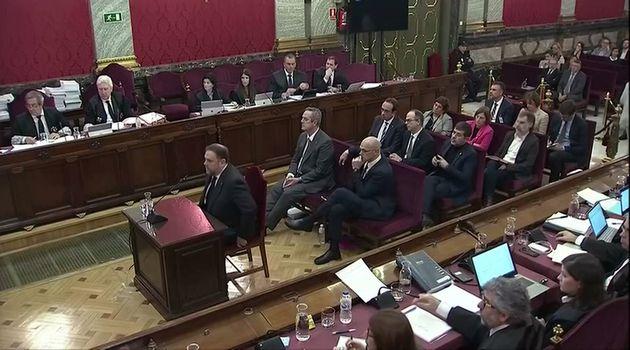 Oriol Junqueras, durante su declaración en el juicio sobre el 'procés' en el Supremo, el...