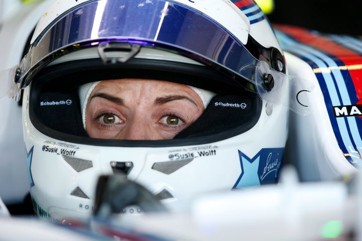 Susie Wolff during practice for the British Grand Prix at Silverstone in 2015