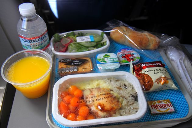 An in-flight meal is served on an American Airlines