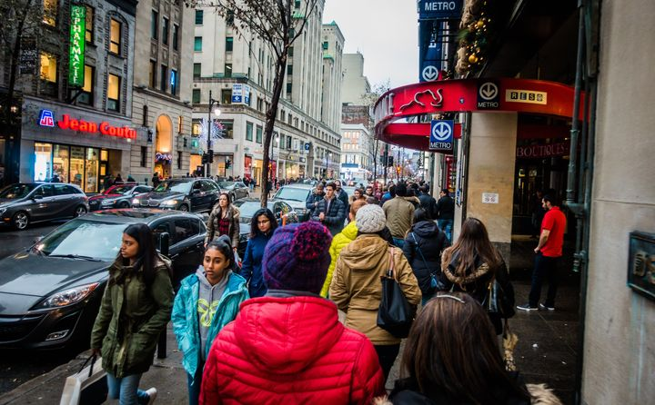 Pedestrians on the Ste-Catherine shopping strip in Montreal, Que., Nov. 25, 2017. Canada's rebound from an economic slump at the end of last year likely means no interest rate cuts this year for borrowers.